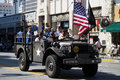 Military truck with world war ii veterans in the th annual nis los angeles august nisei week grand parade august downtown los Stock Photography