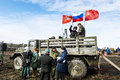 Military under the russian flag on the truck on the military pat april saint petersburg patriotic festival battle steel saint Stock Photo