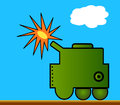 Military vehicle illustration of simple cartoon style Royalty Free Stock Photography