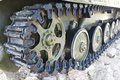 Military vehicles running gear on tracks closeup Stock Image