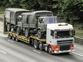 Military vehicles truck carrying on the motorway Royalty Free Stock Photography