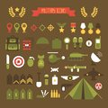 Military and war icons set. Army infographic