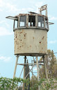 Military watchtower old in israel Stock Photo