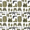 Military weapon guns armor forces american fighter ammunition camouflage seamless pattern background vector illustration