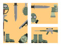 Military weapon guns symbols armor cards forces design and american fighter ammunition navy camouflage sign vector