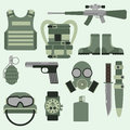 Military weapon guns symbols armor set forces design and american fighter ammunition navy camouflage sign vector
