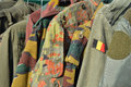 Military wear dump on a flea market in spa belgium Royalty Free Stock Photography