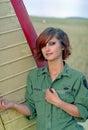 Military woman on aerodrome Royalty Free Stock Photo