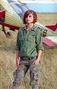 Military woman on aerodrome Stock Photo