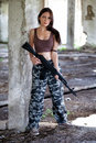 A military woman with an automatic rifle ak-74 Stock Photos