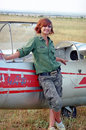 Military woman before a glider Royalty Free Stock Images