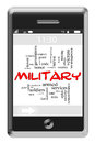 Military Word Cloud Concept on Touchscreen Phone Royalty Free Stock Photos