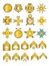 Militärmedaillen und Ränge Stockfoto