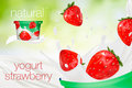 Milk ad or 3d strawberry yogurt flavour promotion. milk splash with fruits on green nature background. instant