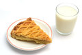 Milk and apple pie slice glass of Royalty Free Stock Image