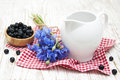Milk and blueberries on a old wooden background Stock Photography