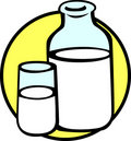 Milk bottle and glass vector illustration Royalty Free Stock Photos