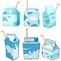 Milk boxs with straw Royalty Free Stock Images