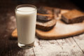Milk and bread on table. still life Royalty Free Stock Photo