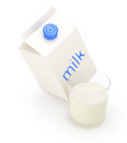 Milk carton and glass on white background d render Royalty Free Stock Photo