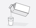 Milk carton pour cartons pouring into glass of Stock Images