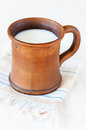 Milk in ceramic mug brown Stock Photography