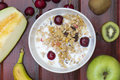 Milk with cereals and fruits Royalty Free Stock Photo