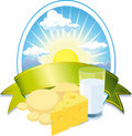 Milk and cheese label Royalty Free Stock Photography
