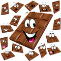 Milk chocolate cartoon with many expression isolated on white background Royalty Free Stock Image