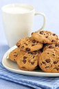 Milk and chocolate chip cookies Royalty Free Stock Image