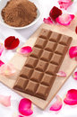 Milk chocolate and chocolate powder Royalty Free Stock Photo