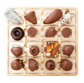 Milk chocolates in box Stock Photo