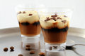 Milk cofee dessert two glasses of Royalty Free Stock Image