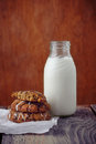 Milk and cookies bottle of Stock Photo