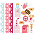 Milk and cookies laces and candies Royalty Free Stock Photo