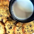 Milk and cookies shot from above Royalty Free Stock Photo