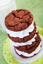 Milk and cookies a stack of cream filled chocolate a tall glass of cold Royalty Free Stock Photo
