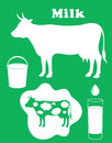 Milk cow isolated objects vector illustration eps Royalty Free Stock Image