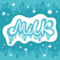 Milk design lettering wave background with drops Royalty Free Stock Image