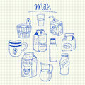 Milk doodles - squared paper Royalty Free Stock Photo