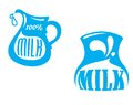 Milk emblems and symbols emblem or logo with jug text â percent blue color isolated on white background suitable for drink Stock Photos