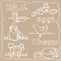 Milk and farm products vector illustration of in doodles style eps Royalty Free Stock Images
