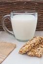 Milk and granola bars Stock Photography