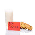 Milk and home cookies for santa iii made note claus on christmas eve Stock Image