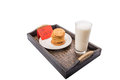Milk and home made cookies for santa claus iii a note Stock Photography