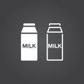 Milk Icon. Solid and Outline Versions. White icons on a dark bac