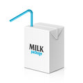 Milk or juice box with drinking straw Royalty Free Stock Photo