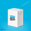 Milk or juice package with drinking straw template Royalty Free Stock Photo