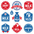 Milk labels set of and dairy farm product Stock Photos