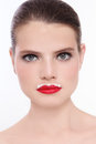 Milk moustache close up portrait of young beautiful fresh woman with red lipstick and whiskers Stock Photo
